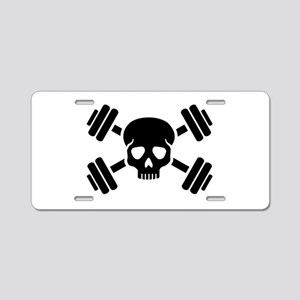 Crossed barbells skull Aluminum License Plate
