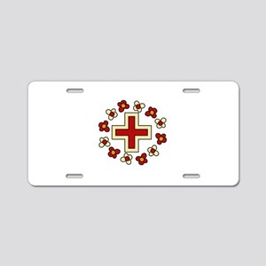 Floral Red Cross Aluminum License Plate