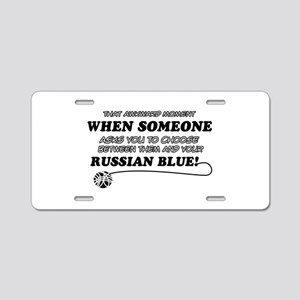 Funny Russian Blue designs Aluminum License Plate
