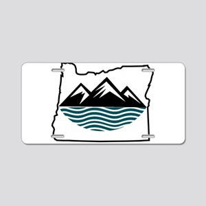 Oregon Mountains and Waves Aluminum License Plate