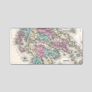 Vintage Map of Greece (1855 Aluminum License Plate
