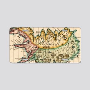 Vintage Map of Iceland (175 Aluminum License Plate