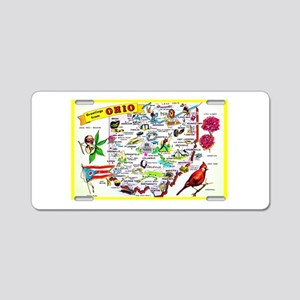Ohio Map Greetings Aluminum License Plate