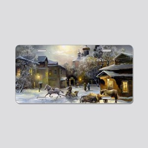Russian Winter Painting Aluminum License Plate