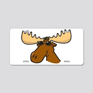 Moose With Sunglasses Aluminum License Plate