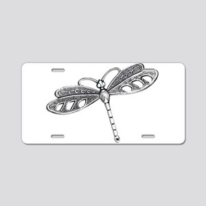 Metallic Silver Dragonfly Aluminum License Plate