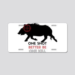 One Shot One Kill Wild Boar Aluminum License Plate