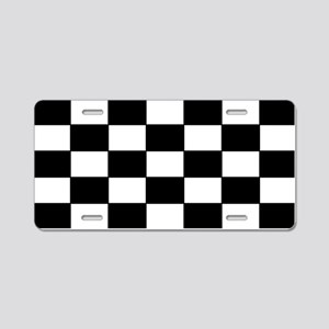 Checkered Pattern Aluminum License Plate