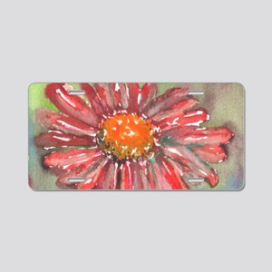 Red Daisy Aluminum License Plate