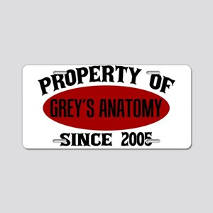 Property of Grey's Anatomy Aluminum License Plate