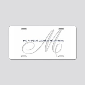 Elegant Name and Monogram Aluminum License Plate