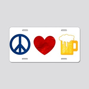 Peace Love Beer Aluminum License Plate
