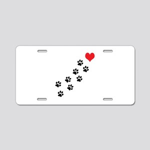 Paw Prints To My Heart Aluminum License Plate