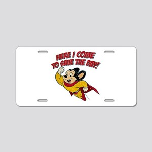 42ff782b35ad Here I Come to Save the Day Aluminum License Plate