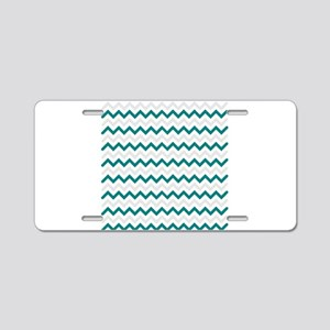 Turquoise and Grey Chevron Aluminum License Plate