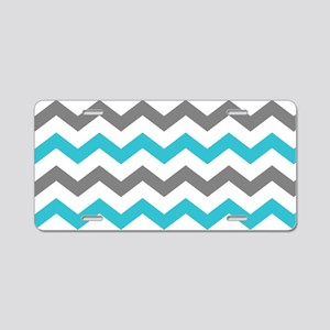 Teal and Gray Chevron Pattern Aluminum License Pla
