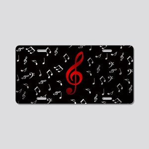 red music notes in silver Aluminum License Plate