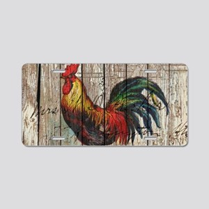 rustic farm country rooster Aluminum License Plate