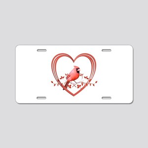 Cardinal in Heart Aluminum License Plate