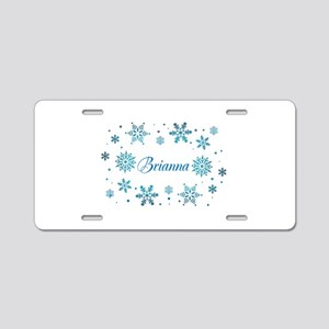 Custom name Snowflakes Aluminum License Plate