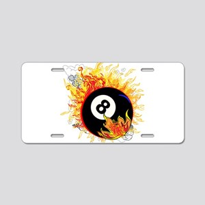 Fiery Eight Ball Aluminum License Plate