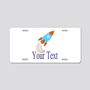 Rocket Ship Personalizable Aluminum License Plate