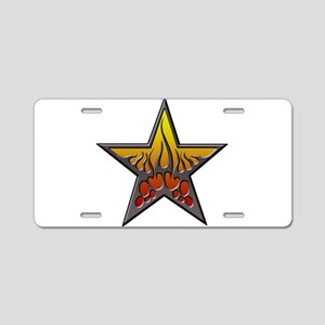 flaming star Trans) Aluminum License Plate