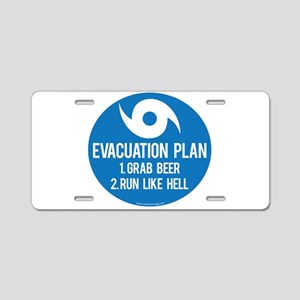 Hurricane Evacuation Plan Aluminum License Plate