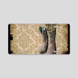 cowboy boots damask western country Aluminum Licen