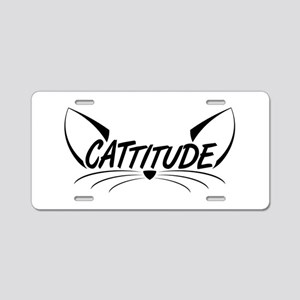 Cattitude Aluminum License Plate