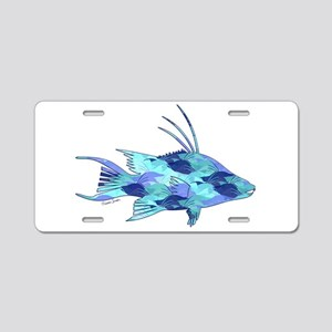 Blue Camouflage Hogfish Aluminum License Plate