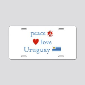 Peace Love and Uruguay Aluminum License Plate