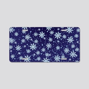 Midnight Snowflakes Aluminum License Plate