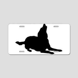 Dog barking silhouette Aluminum License Plate
