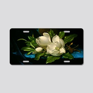 Giant Magnolia on a Blue Ve Aluminum License Plate