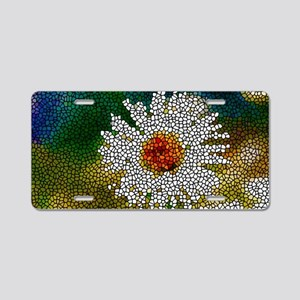 Stained Glass White Flower Aluminum License Plate