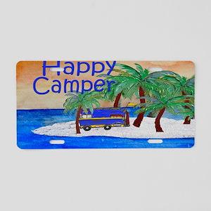Island Palms Happy Camper Aluminum License Plate