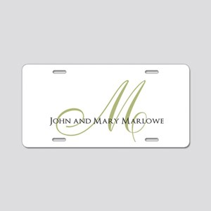 Names and Monogrammed Initial Aluminum License Pla