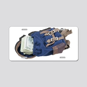 Cash in a Back Pack Aluminum License Plate