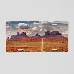 Road Trough Desert Aluminum License Plate