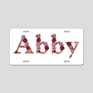 Abby Pink Flowers Aluminum License Plate