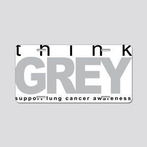 Lung-Cancer-Think-Grey Aluminum License Plate