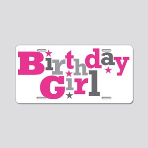 Pink Birthday Girl Star Aluminum License Plate