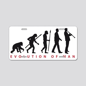 evolution of man clarinet p Aluminum License Plate