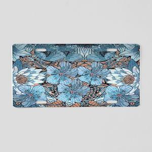 Blue Hibiscus Flowers Aluminum License Plate