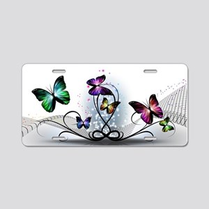 Colorful Butterflies Aluminum License Plate