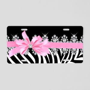 Zebra (pink) Aluminum License Plate