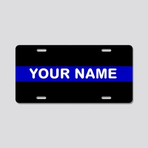 Personalized Blue Line Aluminum License Plate