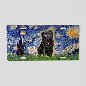 Starry Night Black Pug Aluminum License Plate