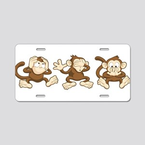No Evil Monkey Aluminum License Plate